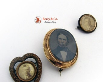 SaLe! sALe! Antique Tintype Portrait Hair Jewelry Portrait Brooches Three