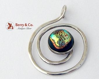 SaLe! sALe! Vintage Spiral Pendant Art Glass Sterling Silver