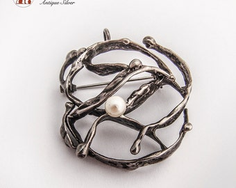 Scandinavian Designer Unusual Brooch Pendant Pearl Accent Sterling