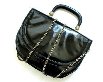 Vintage BALENCIAGA Paris, black patent leather handbag