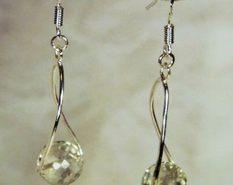 "Cynthia Lynn ""DEW DROPS"" Twisted Sterling Silver Green Amethyst Drop Earrings"
