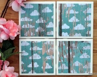 Coasters Tile - Handmade Coasters - Cloud Coasters - Rustic Coasters - Coasters - Drink Coasters - Tile Coasters - Ceramic Coasters