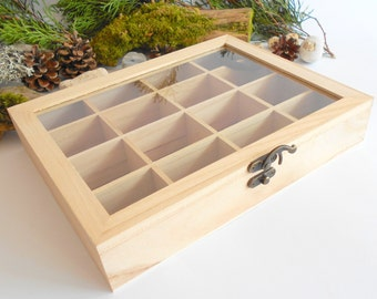 Wooden tea box with glass display- plain bamboo wood- 16 compartments display box- storage box, box for decoupage, unfinished box- herbs box