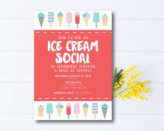 INSTANT DOWNLOAD ice cream social invitation / ice cream party invitation / ice cream social / back to school party
