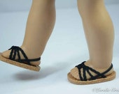 American Girl 18 inch doll SANDALS SHOES Flipflops in Braided Black Cord with Four Criss-Cross Straps with Heel Strap