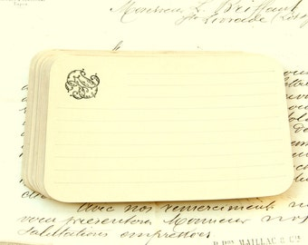 Antique flat note cards, French 1900s set of 20 blank note cards with a stylised monogram