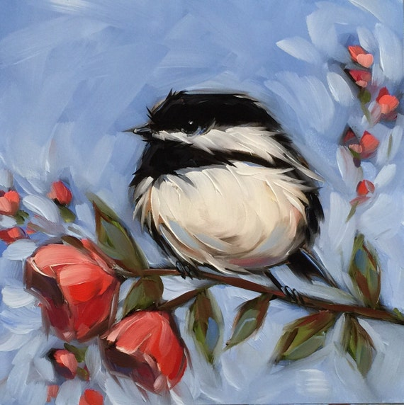 reserved for alex chickadee painting original oil painting