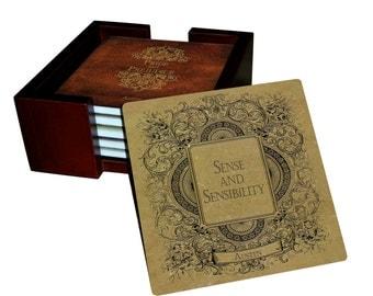 Jane Austen Books Coaster Set - Sandstone Tile with Cork Back - 7 Piece Set - 6 Tiles + Holder