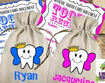 Tooth Fairy Bag & Receipts, Tooth Fairy Girl Bag, Tooth Fairy Boy Bag, Tooth Fairy Bag, Lost Teeth Bag, Tooth Fairy Sack, Tooth Fairy Pouch
