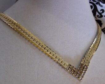 Gold Tone Chain V Necklace with Rhinestone Center-Hallmark Korea on Clasp