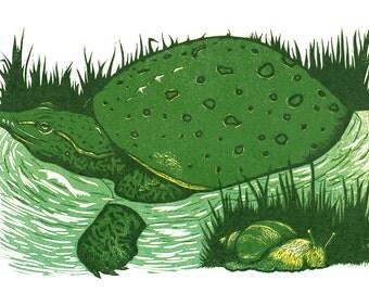 Softshell Turtle & Snail Original Hand-pulled Linocut Print // Turtle Linoleum Cut Reduction Print // Limited Edition of 20
