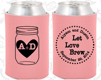 Let Love Brew, Unique Wedding, Rustic Wedding, Monogrammed Gifts, Mason Jar Wedding, Wedding Beer Can Coolers (86)