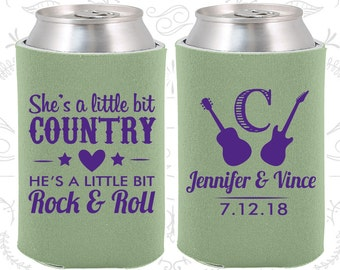 She's a Little Bit of Country, He's a little bit of Rock and Roll, Country Wedding Gift, Rock and Roll Wedding Gift, Can Holder (467)