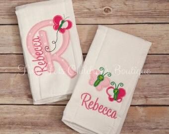 Personalized Burp Cloth Set - Monogram Burp Cloth Set - Embroidered Burp Cloths
