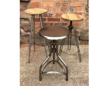 Industrial Metal & Wooden Bar Stools Swivel Kitchen Vintage Retro Factory Old Rusty Rustic Style Stools UK MADE