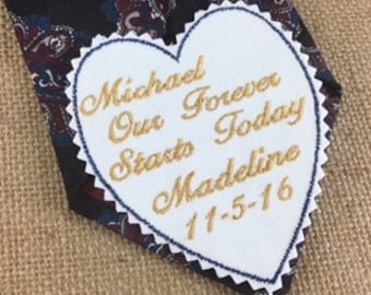 Groom's WEDDING TIE PATCH -Personalized Tie Patch, Gift for the Groom, Our Forever, Wedding Accessories, Iron On Tie Patch, Sew On Tie Patch