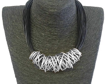 Stunning handmade unique dress wear women's silver plated chunky wrap wire black leather cord fashion costume jewellery necklace