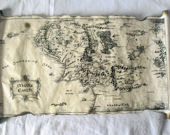 Map Of Middle Earth Scroll Lord Of The Rings Map The Hobbit Map on Handmade Scroll