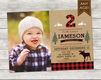 Lumberjack Birthday Invitation, Lumberjack Birthday Party Invitation, Flannel, Red buffalo Plaid Invitation DIGITAL FILE
