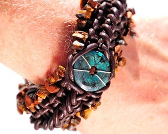 Leather Bracelet, Healing Energy Jewelry, Tibetan Turquoise Wrist cuff, Banes Cuff, Woven Leather Statement Jewelry