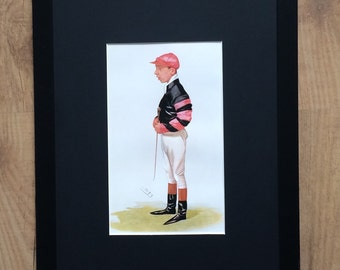 "Framed and Mounted Jockeys of Vanity Fair Print - 16"" x 12"" - A Rising Star"