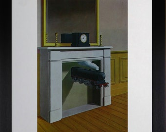 """Mounted and Framed - Time Transfixed / La Duree Poignardee Print by Rene Magritte - 14"""" x 11"""""""