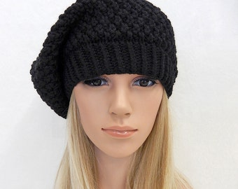Knit Hat Slouchy Beanie Beret Handmade.... Black  1  (Ready to Ship)