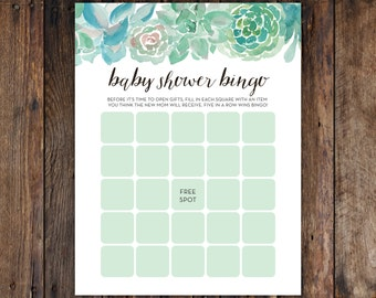 """INSTANT DOWNLOAD Printable DIY Baby Shower Bingo with Green Boho Succulent Spring or Summer Cactus Design for Girl or Boy (8.5""""x11"""")"""
