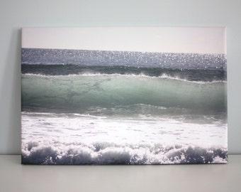 Aqua Wave Coastal Wall Decor Wave Photo Canvas Print