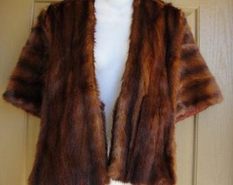 Vtg Vintage 1950s Genuine Fur Jacket Shawl Stole Muskrat Mink Women's size S M L small medium large 1950s by Costello Fur Soft!