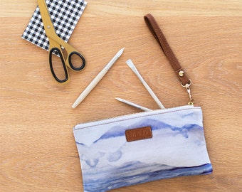 Skyline - Digitally Printed Cotton Pouch with Leather Details