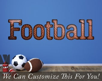 Football wall decor vinyl decal textured print lettering 2516