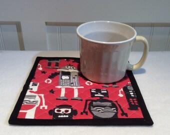 Robot Mug Rug, Robot Coaster, Lego Robots, Kids TV Snack Mat, Quiltsy Handmade