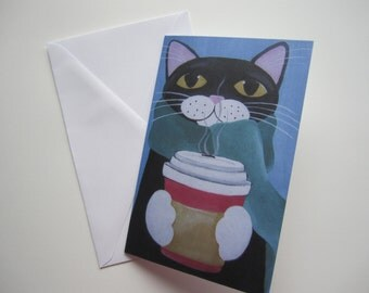 Black cat with Coffee Christmas Card, Cat holiday Card, Cat with Coffee Holiday Card