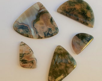 5 Green Moss Agate Slices, Green Stones, Agate Pendant Slices