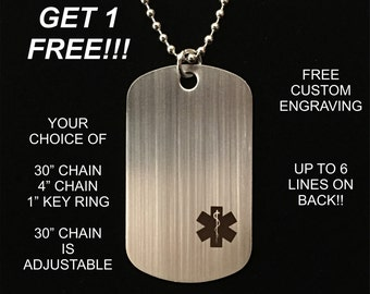 Medical Alert Stainless Steel Diabetic Custom Engraved Medic ID Military Dog Tag Emergency (**Buy 3 get 1 Free!!**)