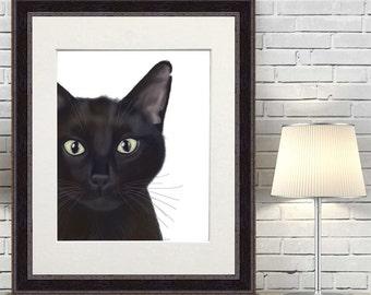 Black Cat Portrait Black Cat Art Print - Gus - Black Cat Wall art cat wall decor cat painting gift for cat lover gift black cat poster