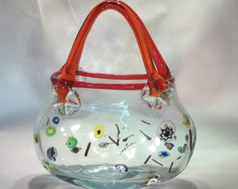 Art Glass Purse 1970's Hand Blown Milifiori Red Handled Glass Vase Fishbowl