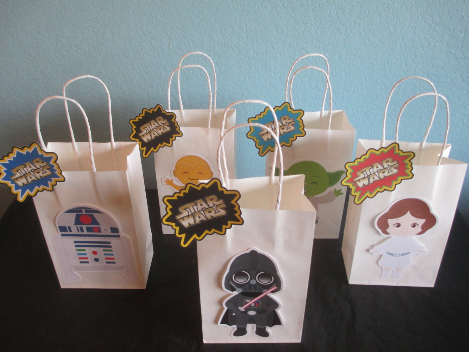 Star wars goody bags10star wars bagsstar wars birthday for Bag decoration ideas