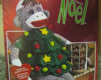 "On Sale New in Sealed Package, Janlynn's Noel 21"" Sock Monkey Doll w/Christmas Tree Dress, Adoption Papers Included, Craft Kit, NEW, 2003"