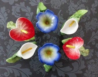 Vintage Flower Napkin Rings (set of 6)  RPA 1985 , PIA Bone China Floral Napkin Holders, Spring Table Decor
