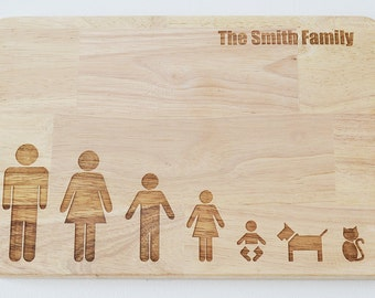 Personalised Stick Family Chopping Board