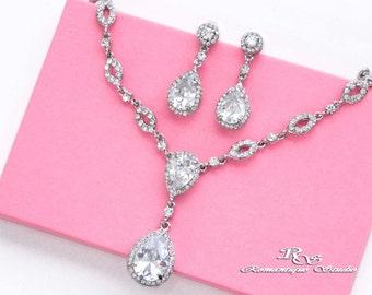 Cubic zirconia jewelry set, CZ wedding necklace set, Wedding jewelry set, Bridal jewelry set, Zircon jewelry, CZ bridal set S0154