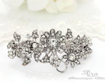 Crystal bridal hair clip silver rhinestone flower hair barrette rhinestone wedding hair piece  - 5172