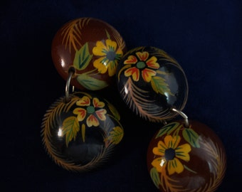 Fun and Campy Floral Themed Wooden Hand Painted Earrings! Great Buy!