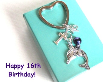 16th birthday gift - Dolphin keychain - Personalised 16th keyring - 16th keychain - Dolphin keyring with pearl - Initial keyring - Etsy UK