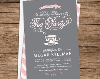 Baby Shower Tea Party Invitation: Gray, Pink, White