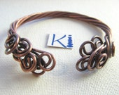 Antique Copper Bracelet Wire Wrapped One Of a Kind