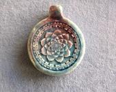 One or Five Pieces, Raku Lotus Pendant, Peruvian Ceramic
