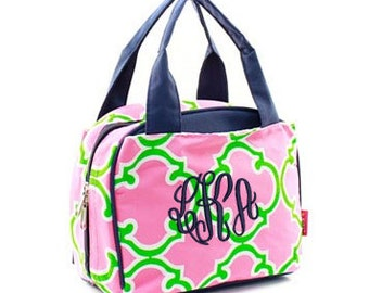 Monogrammed Insulated Lunch Bag - Geometric